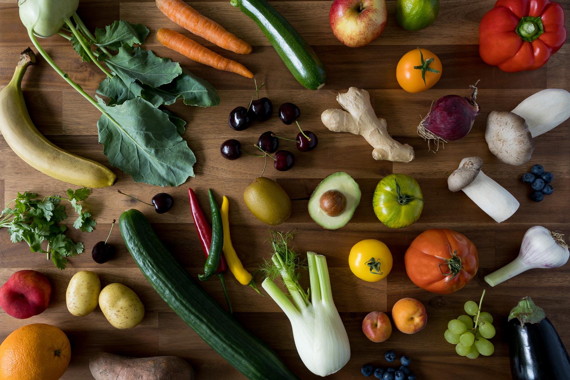 Gemüse Platte von oben